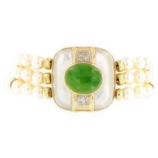 Vintage 14kt Gold Pearl Diamond & Jade Bracelet, Circa 1970