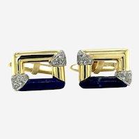 Vintage 18kt Gold Cufflinks Lapis Lazuli & Diamonds, circa 1970