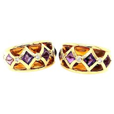 18kt Semiprecious & Diamond Earrings