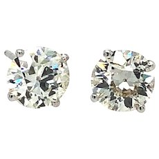 1.89 Carats Old European Cut Diamond Studs Platinum