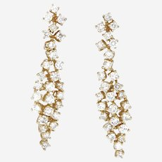 2.86 ct Diamonds Cluster Dangling Earring in 14kt Yellow Gold