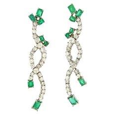 Prestige 6.25 ctw Emerald & Diamonds Waterfall Earrings, 18kt White Gold