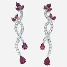 18K Gold 7.75 ct Ruby & Diamonds Waterfall Earring