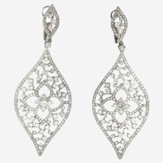 Exquisite 7.50 ct Diamonds Dangling Lotus Motif Earring, 14 kt White Gold