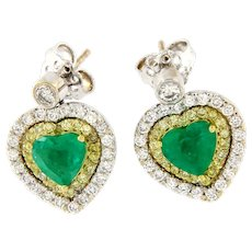 4.43 ct Emerald & Diamond 18kt Gold Pair of Heart Earrings