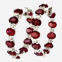 Dazzling 5.90 ctw Ruby & Diamond 18kt Hoop Earrings