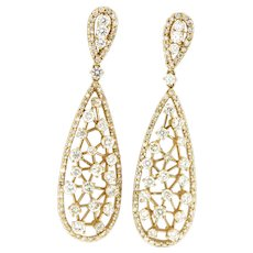 3.75 ctw Diamond Drop Earrings in 14 kt Yellow Gold