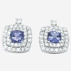 Fine 5.01 ct Tanzanite & Diamonds 14k White Gold Pair of Earrings