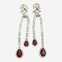 Diamonds and Rubellite 18 kt Gold Waterfall Earrings,
