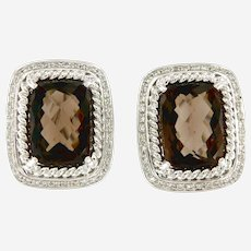 14kt Gold Diamonds & Smokey Quartz Pair of Earrings