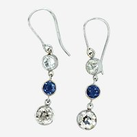 Art Deco Platinum 14kt Diamond & Sapphire Dangling Earring