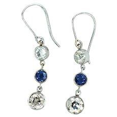 Art Deco Platinum 14kt Diamond & Sapphire Dangling Earring