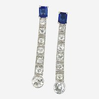 Art Deco Platinum 14k Diamond & Sapphire Drop Earring