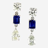 3.45 ct Diamond & Sapphire Dangling Earring