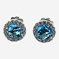 14kt Gold Topaz and Diamonds Stud Earring, 9mm