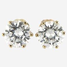Vintage 1.70 ct Diamonds Stud Earring in 14 kt Yellow Gold, Screw Backs.