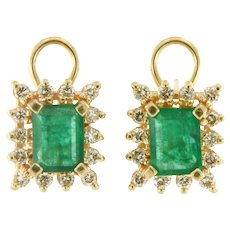 Vintage Emerald & Diamond Earring in 14k Yellow Gold