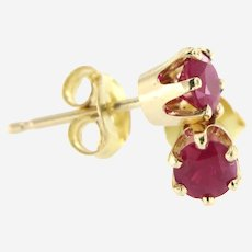 Estate Petite Natural Ruby Stud Earring in 14 kt Yellow Gold