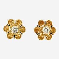 Estate Petite Diamond Flower Motif 14kt Gold Earring