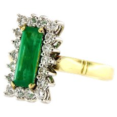 Vintage Emerald & Diamond 18k Gold Cluster Ring, Circa 1970