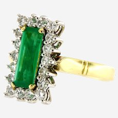 Vintage Emerald & Diamond 18k Gold Cluster Ring, Circa 1970