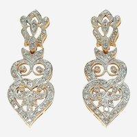 Art Deco Style Diamonds & 14k Gold Dangling Earring