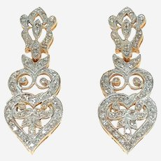 Art Deco Style Diamonds & 14k Gold Dangling Earring