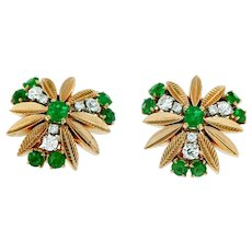 French Emerald and Diamonds Vintage 18kt Gold Earring, Circa 1960