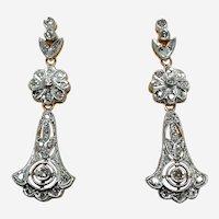 Art Nouveau Style 14k Gold & Diamond Earring
