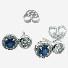 18k Gold Sapphire & Diamond Stud Earring