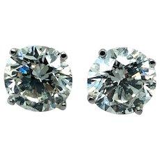 5.14 ct Diamond Stud Earrings in 18k White Gold