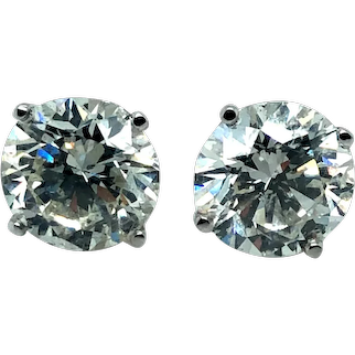 5.14 ct Diamond Stud Earrings in 18k White Gold