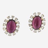 18kt Gold Tourmaline and Diamonds Estate Earrings