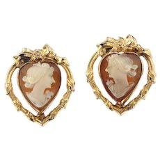 Vintage 14kt Gold Heart Shaped Cameo Earrings.