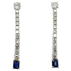 3.35 ct Sapphire & Diamond Dangling Earrings