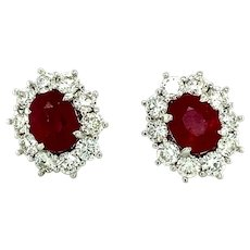8.82 ct Red Ruby & Diamond Earrings in 18kt White  Gold