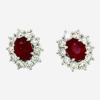8.82 ct Ruby & Diamond Earrings in 18kt White  Gold