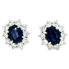 10.64 ct Sapphire & Diamond Earrings in 18kt White Gold