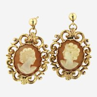 Vintage 14kt Gold Large Cameo Earrings.