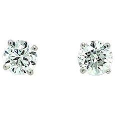 1.81 ct Diamond Studs in 14kt White Gold