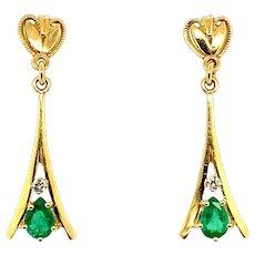 0.83 ct Emerald Pear & Diamond Earrings in 14kt Yellow Gold