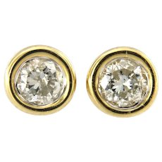 Bezel Set 0.60ct Diamond Stud Earring, 14kt Yellow Gold