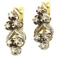 Russian 18kt Gold Diamonds Handmade Earrings, soviet Era