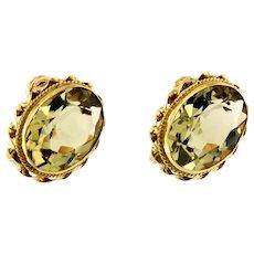 Victorian Gemstones Earring in 14kt Yellow Gold