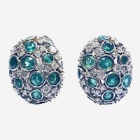 18kt Gold Emerald and Diamond Cluster Earring