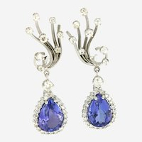 Estate Tanzanite & Diamonds Dangling Floral Earrings, 14kt White Gold