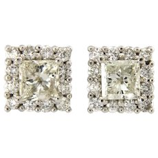 1.80 ct Princess Cut Diamond Halo Stud Earrings  14Kt White Gold