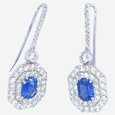 Sapphire and Diamonds Earrings 18kt Gold