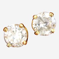 Vintage 0.90 ctw Diamond Stud Earring in 14 kt Yellow Gold