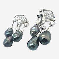 18k Gold Diamonds Dangling Tahitian Pearls Earring.